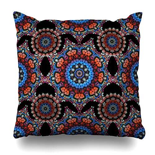 iDecorDesign Throw Pillow Covers Arabesque Orange Arabic Retro Antique Acanthus Vintage Baroque Drawn Filigree Pink Aztec Batik Home Decor Pillow Case Square Size 20 x 20 Inches Pillowcase