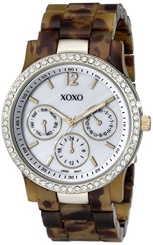 XOXO Women's XO5524 Tortoise Bracelet with Rhinestones on Gold Case Watch