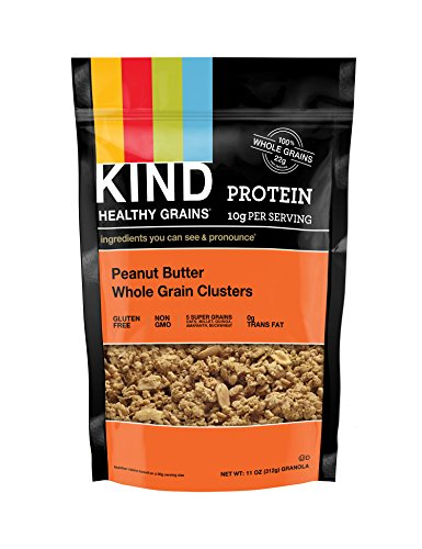 KIND Healthy Grains Clusters, Peanut Butter Whole Grain Granola, 10g Protein, Gluten Free, Non GMO, 11 Ounce Bags, 3 (Farms Peanut Butter)