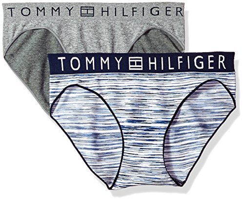 Tommy Hilfiger Women's 2pk Seamless Wide Elastic Bikini, Bar Code Stripe Peacoat/Heather Grey, M