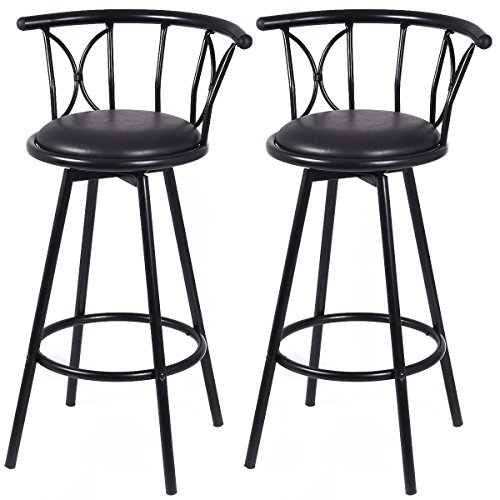 Black Pvc Swivel Seat Stools (Picotech 2 Barstool Metal Frame PVC Covered Fireproof Foam Black Contemporary Design Durable Comfortable High Headrest 360 Degree Swivel Seat Built-in Strong Footrest 4 Flared Leg Home Restaurant Bar)