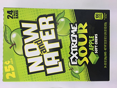 Now & Later EXTREME Sour Apple Soft Chews - 24 6-piece Bars