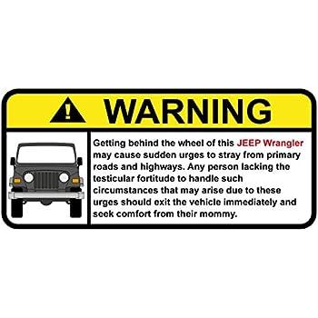 Amazon Com Jeep Wrangler Funny Warning Off Road Sticker