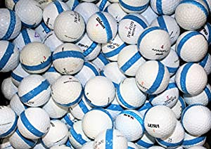 100 Premium Assorted Blue Striped White Range Practice Golf Balls - Top Quality