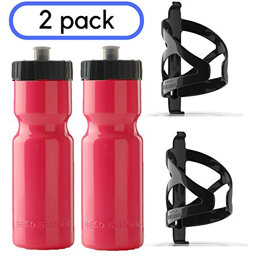 50 Strong BPA Free Squeeze Bike Water Bottle with Bicycle Bottle Holder Cage - 2 Pack - Made in USA 22 oz. Bottles and Durable Plastic Cages ()