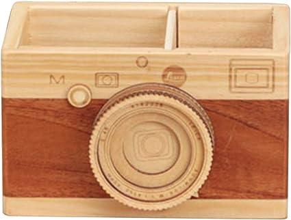 Estuche de madera para lápices, soporte para bolígrafos de escritorio, organizador de maquillaje para oficina, decoración del hogar, gran regalo para fotógrafos, color Tipo A free size: Amazon.es: Oficina y papelería