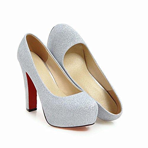 Latasa Womens Platform High Heels Dress Pumps Silver bG3xHDLZw7