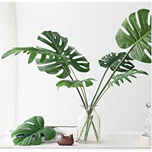 5 Kinds Large Artificial Fake Monstera Palm tree Leaves Green Plastic Leaf Wedding DIY Decoration Cheap Flowers Leaves Plant 36