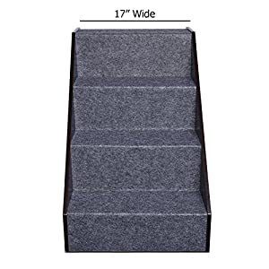 Arf Pets Wood Dog stairs, 5 levels Height Adjustment Pet Steps, Foldable