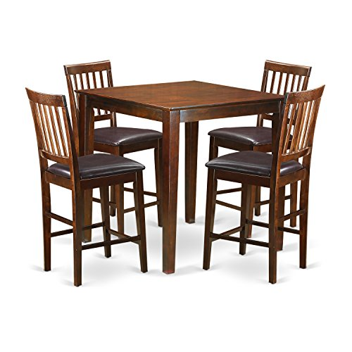 East West Furniture VERN5-MAH-LC 5-Piece Counter Height Table Set