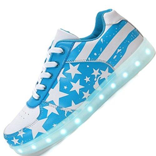 (Present:kleines Handtuch)JUNGLEST Herren Damen LED Schuhe Farbwechsel RGB 7 Farben USB Leuchtschuhe Sneaker Turnschuhe für Abschlussball-Partei Vale Blau