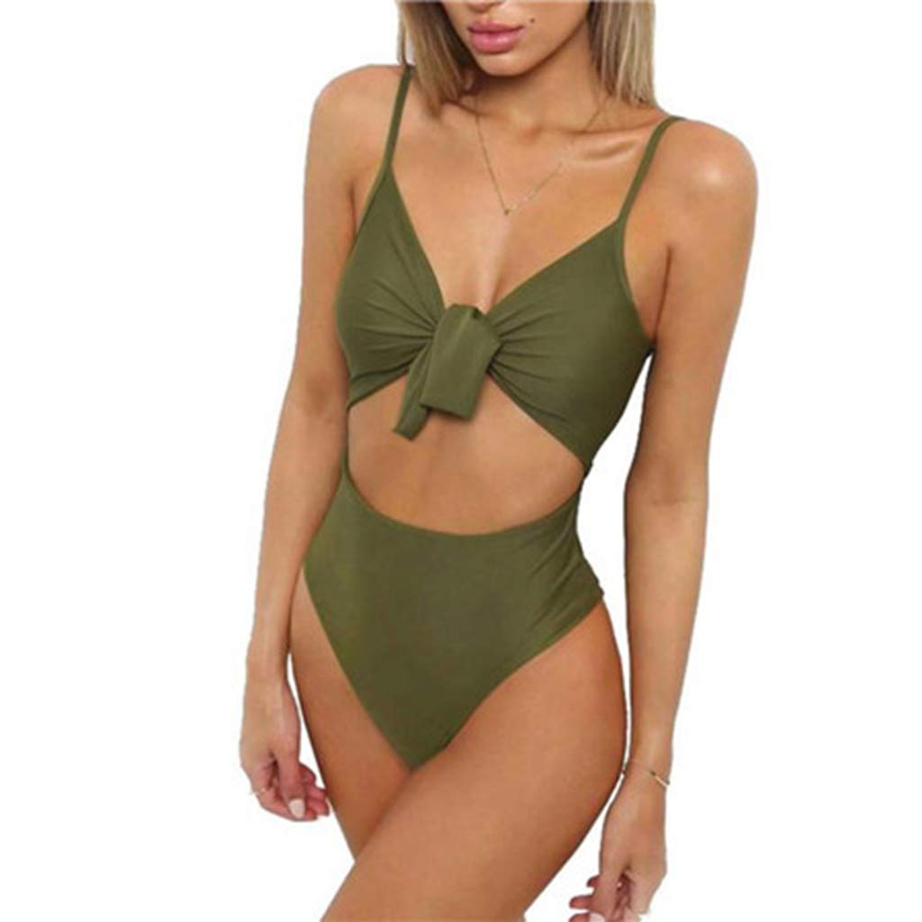 Fafalisa One Piece Bow Women Bikini Exposed Belly Tie Front Knot Swimwear Sexy Monokini Solid Padded Beach Wear (Army Green,M)