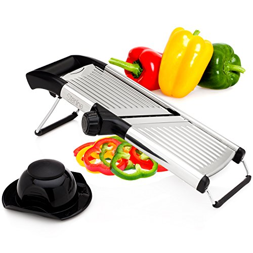 Sterline Adjustable Stainless Steel Mandoline Slicer with Hand Guard Food Holder, Vegetable Slicer, French Fry Cutter, Julienne Blade, BPA Free, Dishwasher Safe