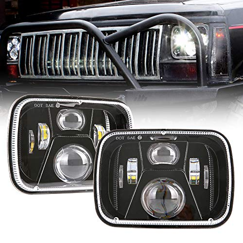 (BICYACO DOT 110W 5x7 Inch Led Headlights 7x6 Hi/Low Led Sealed Beam Headlamp for Jeep Wrangler YJ Cherokee XJ H4 Plug H6054 Headlights H5054 6054 6052 Toyota Pickup(1 Pair))