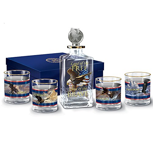 Patriotic 5 Piece Glass Decanter Set with Ted Blaylock Eagle Art and Gift Box by The Bradford Exchange