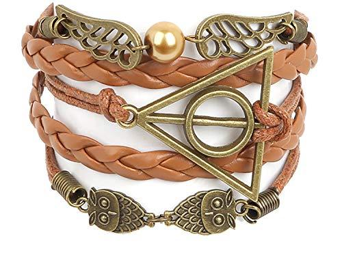Peace River Designs Vintage Bracelet Golden Snitch Deathly Hallows Owls Brown Leather Braid Rope Bangle Gift Bracelet (Harry Potter Diy-kostüme)