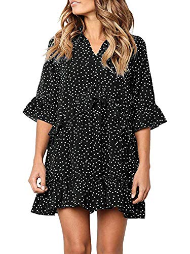 MISSLOOK Women's Polka Dot Dresses V Neck Half Flare Sleeve Causal Swing Ruffle Hem Mini Dress - Black M - Polka Dot Ruffle Mini