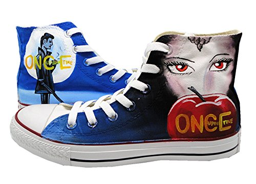 Once Upon a Time Canvas Shoes High Top Casual Canvas Painted Fashion Sneaker for Women Men US Men6/Women8/EUR40