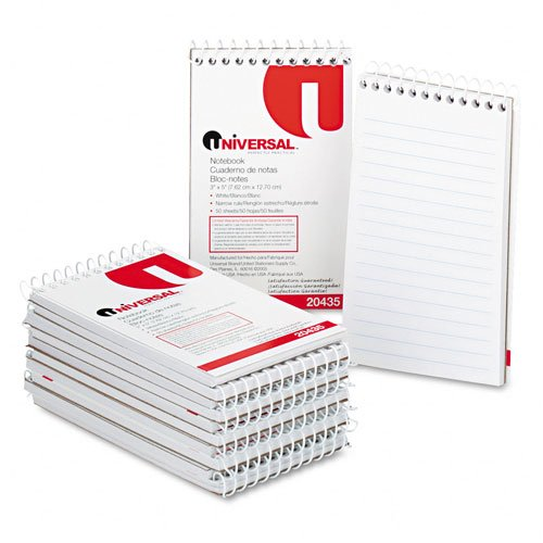 Universal : Wirebound Memo Books, Narrow Rule, 3 x 5, White, 12 50-Sheet Pads/pack -:- Sold as 2 Packs of - 12 - / - Total of 24 Each