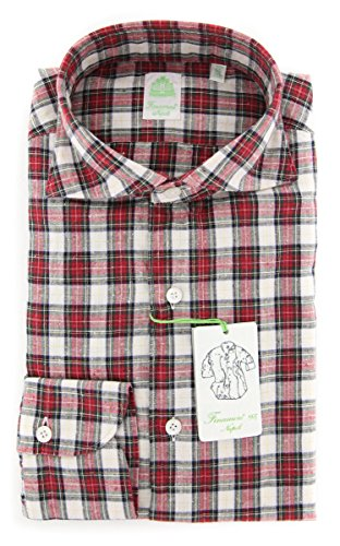 Finamore New Napoli Red Plaid Extra Slim Shirt (Shirt Napoli Red)