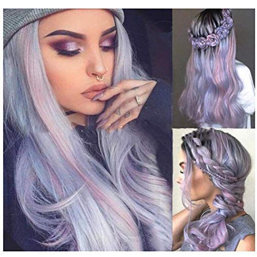 YOURWIGS 2019 Lace Wigs Grey Purple Long Curly Wavy Wigs for Women Water Wave Heat Resistant Synthetic Wig for Halloween Costume Party 25