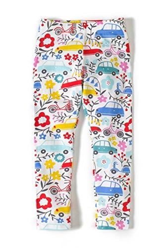 Girls Leggings Baby Kids Childrens Toddler Floral Print Leggings Pants (6T, Car Flower) -