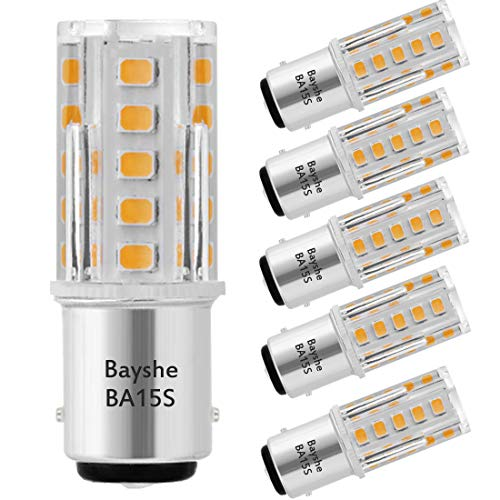 (Bayshe 3W 12V BA15S S8 SC Bayonet Single Contact Base 1156 1141 LED Light Bulb 2700K Warm White,Low Voltage AC/DC 12volt Landscape Path Deck RV Camper Marine Boat Trailer Lighting-Pack of 5)