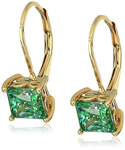 Yellow-Gold Plated Sterling Silver Princess Cut Fancy Green Leverback Earrings made with Swarovski Zirconia (3 cttw)