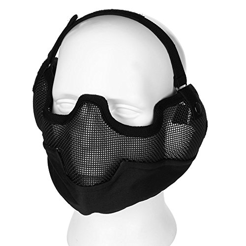 Flexzion Tactical Airsoft Mask with Ear Mesh Paintball Half Face Protection Safety Guard in Black for Outdoor Activity Party Movie Props Striker with Adjustable Strap