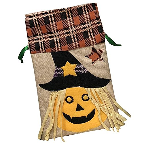 Halloween Children's Festival Candy Bag Decoration Tote Bag The Ugly Witch and The Black Bear Pumpkin Pattern Drawstring Bag Party Performance Dress up Bag