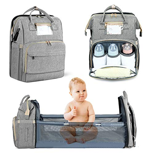 Baby Diaper Bag Backpack Boys-Girls - Bag Waterproof Include Large Capacity Insulated Pockets,Mommy Bag with Travel Bassinet (Gray)