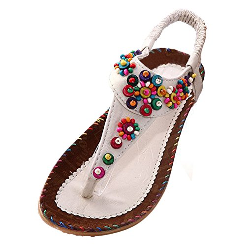SODIAL Flat Sandals Ankle T-strap Fashion Trend Sandals Bohemia Flat Heel Beaded Female shoes size 8 beige