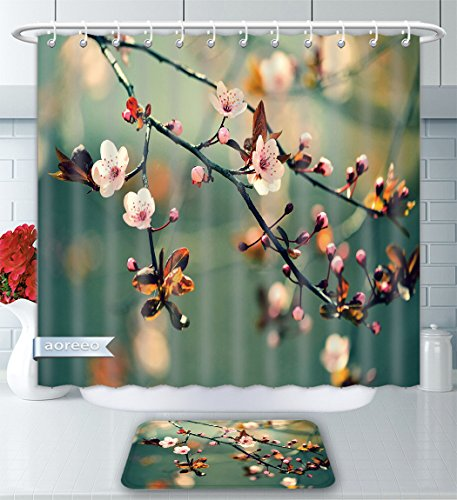 Aoreeo Bathroom Two-Piece Set Nature Spring Themed Asian Floral Flowering Japanese Cherry Sakura Photo Light Pink Forest Green Shower Curtain Bath Rug Set, 71