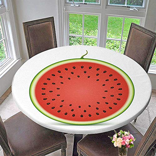 PINAFORE HOME Picnic Circle Table Cloths Watermelon Slice Isolated on White Background for Family Dinners or Gatherings 43.5