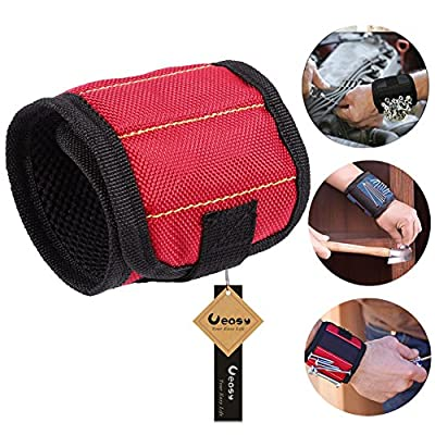 Ueasy Magnetic Wristband with 6 Strong Magnets Wrist Support Strong Magnetic for Holds Small Metal Tools, Screws, Nails, Steel Ball, Bolts, Drill Bits