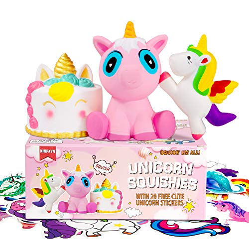KINFAYV Jumbo Unicorn Squishies Toys - Slow Rising Scented Squishies Stress Relief Squeeze Unicorn Kawaii Toy 3 Pack Gift Box Stress Relief Toy & 20 Unicorn Stickers for Kids Birthday Party Decoration by KINFAYV