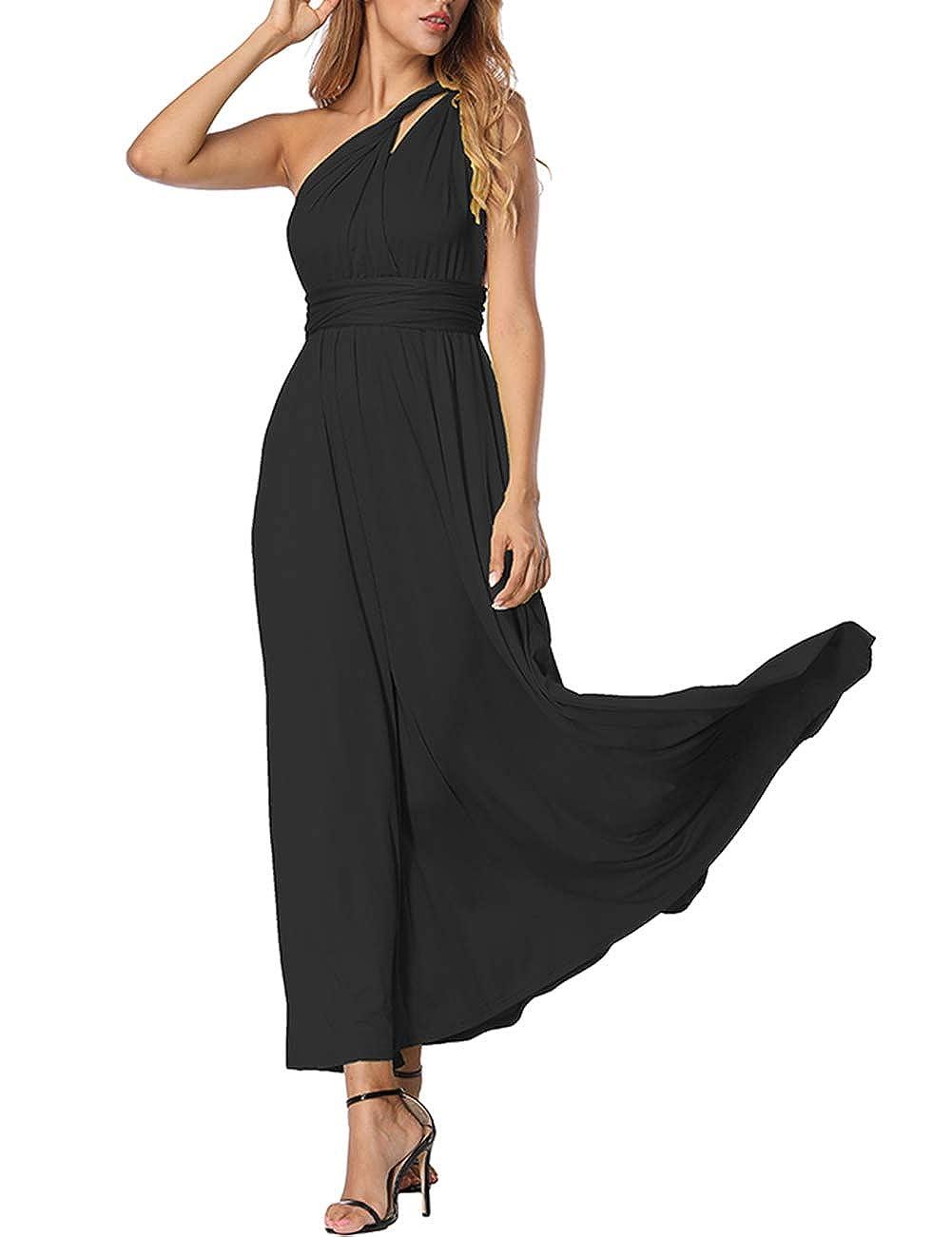 TALLA M(ES 40-44). FeelinGirl Mujer Vestido de Noche Longitud Máxima Falda Fiesta Cóctel Tirantes Convertibles Multi-Manera Negro M(ES 40-44)