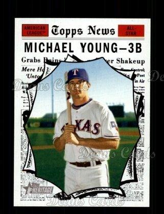 Topps Baseball Cards Rangers Texas (2010 Topps Heritage # 467 All-Star Michael Young Texas Rangers (Baseball Card) Dean's Cards 8 - NM/MT Rangers)