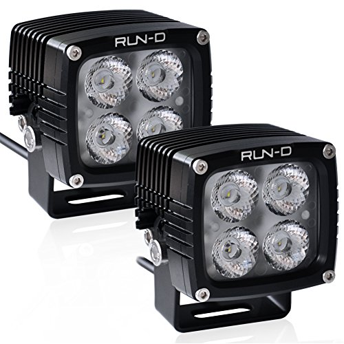 RUN-D 2x40W Off road 3'' Cube Pod (LED Driving Lights) 3150lm each Lamp with CREE LED for Offroad Jeep JK ATV UTV Motorcycle Ford 4X4 Truck 10° SPOT Beam Pattern (Spot-runde)