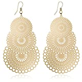 DMI Fashion Jewelry Gold-Tone Alloy Cutout Flower Lightweight Bohemian Style Dangle Earrings