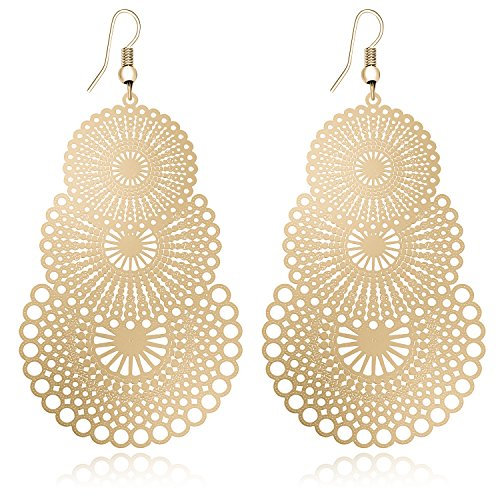 DMI Fashion Jewelry Gold-Tone Alloy Cutout Flower Lightweight Bohemian Style Dangle (Chandelier Flowers Earrings)