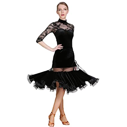 b8f02269534db Woman Latin Dance Dress Dancing Unifom Lace Long Sleeve Split Skirt  National Dance Dress Waltz Ballroom Dance Tango Practice Competition  Costumes: ...