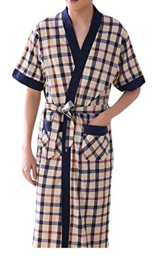 Wofupowga Men Thin Kimono Checkered Cozy Relaxed Fit Nightwear Cotton Robe Khaki M by Wofupowga