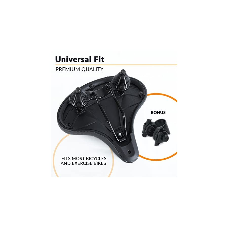 Bikeroo Most Comfortable Bike Seat for Seniors – Extra Wide and Padded Bicycle Saddle for Men and Women Comfort – Universal Bike Seat Replacement