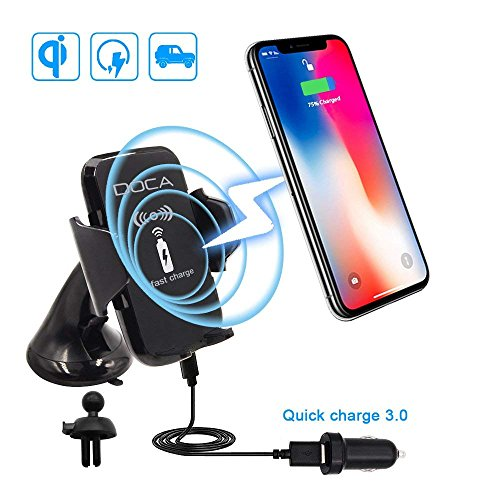 DOCA Wireless Car Charger, 3 in 1 Fast QI Wireless Charging Car Mount Holder with QC3.0 Plug Compatible for iPhone x/8/8P, Samsung Galaxy Note 8 S8/S8 Plus S7 Edge and All QI Devices by DOCA