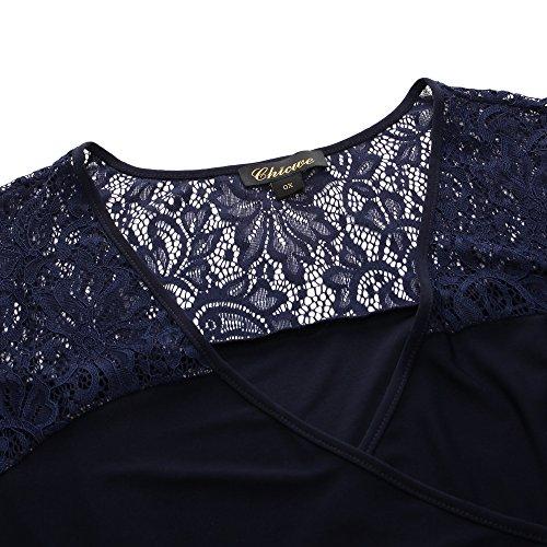 Cocktail du Longueur Chicwe Genou Sombre Dentelle Dcoratif Bleu de Rassemblement Grande Casual avec Robe Fte Femme Robe Taille Taille lastique Marin 7n7arO