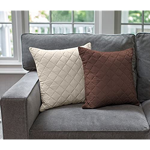 Sofa Shield The Original Reversible Set Of 2 Throw Pillow Cases To Match  Furniture Protector, Reversible (Throw Pillow: Chocolate/Beige)