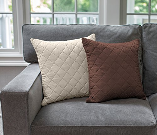 The Original SOFA SHIELD Reversible Set of 2 Throw Pillow Cases to Match Furniture Protector, Reversible (Throw Pillow: Chocolate/Beige) (Navy Blue Padded Recliner)