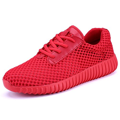 Mesh Breathable Light Athletic Sports Shoes Lace-up Hollow Out Round Head Flat Shoes