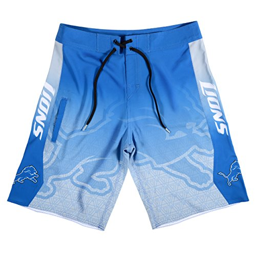 Nfl Team Boardshort (KLEW NFL Detroit Lions Gradient Board Shorts, Small, Blue)